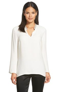 Lafayette+148+New+York+'Leighton'+Embellished+Neck+Silk+Blouse+available+at+#Nordstrom