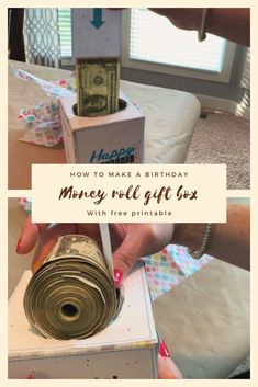 DIY Money Roll with free birthday printable for a tissue box. This is such a fu., DIY Money Roll with free birthday printable for a tissue box. This is such a fu. DIY Money Roll with free birthday printable for a tissue box. Birthday Money Gifts, Birthday Box, Free Birthday, Creative Birthday Gifts, Graduation Gifts, Happy Birthday, Don D'argent, Creative Money Gifts, Money Cake