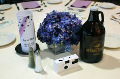 #hydrangea #blue #charity #growlers #centerpieces #weddingideas #beer #busybeeflorist