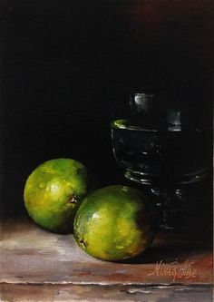"Original art for sale at UGallery.com | Limes and Glass by Nina R Aide | $400 | oil painting | 7"" h x 5"" w 