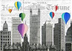 NYC BALLOONS original ARTWORK mixed media by artretro on Etsy, $17.00