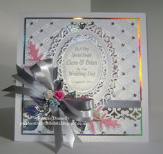 """Wedding Day Card with Spellbinders Floral Ovals, Foliage, Parisian Accents and the """"Tied Together"""" Embossing Folder Wedding Day Cards, Wedding Cards Handmade, Wedding Anniversary Cards, Card Making Designs, Spellbinders Cards, Card Making Techniques, Love Cards, Making Ideas, Cardmaking"""