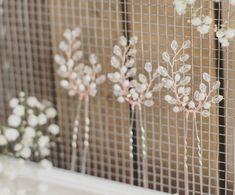 Novia horquillas, horquillas para el cabello de Dama de honor, conjunto de 3 pines, color de rosa de oro, cristal de Swarovski, accesorios para el cabello agua dulce de la perla, juego, boda
