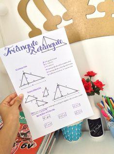 Triângulo retângulo | matemática Perfect Handwriting, Physics And Mathematics, Study Organization, Study Planner, Cute Notes, Bullet Journal Art, Lettering Tutorial, School Notes, Studyblr