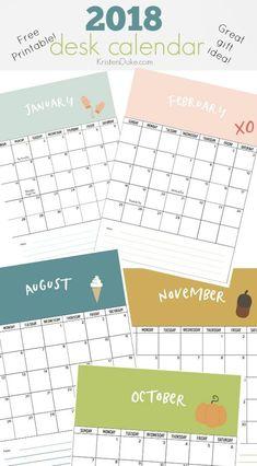 2018 desk calendar. Cute printable for your desk or family command center. www.kristenduke.com