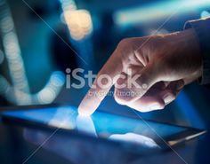 touching digital tablet Royalty Free Stock Photo