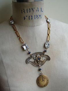 blue floral locket necklace