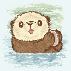 cca2c7f88 Sea otter Art Print Otters Cute, Baby Otters, Otter Cartoon, Kawaii  Drawings,