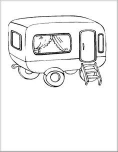 * Teken alles wat je rondom de caravan kan zien....tafel, stoel, kinderen enz...