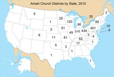Where the Amish live. This is a very informative website.  I visit the Amish area in Indiana every summer.  Always a treat....love to eat their homemade treats, sausage, and cheese, and visit their shops!