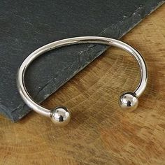 Men's Silver Ball Torque Bracelet bkhGk9p