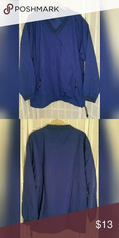 Men's blue pullover M Men's blue pullover M  Good condition but has a spot on front...see pics   Shell/lining 100% nylon   Measures aprox. Length 29in.  Chest 25in./50in. around  Sleeve 22.5in Easton Jackets & Coats