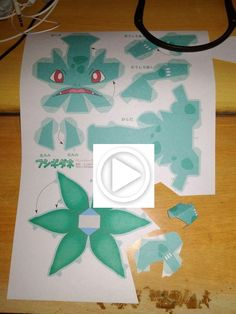 """----""""Black Paper Bulbasaur Papercraft Tutorial (Pokemon Papercraft)"""" is the first video to start a series of video curves about making paper models (pape. 3d Pokemon, Pokemon Bulbasaur, Pokemon Party, Pokemon Birthday, 3d Paper Crafts, Paper Toys, Kirigami, Papercraft Pokemon, Just Add Magic"""
