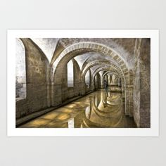 Winchester Cathedral Crypt Art Print by Alice Gosling - $20.00  Available as print, canvas or framed, with a choice of frame color #walldecor #wallart #Winchester #Cathedral #Religion #statue #crypt #water #reflection #stone