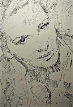 Binoche sketch drawing model fashion