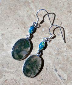 Opal Earrings / Fire Opal / Blue Opal / Moss Agate / Sterling Dangles $46 by AleaMariCo