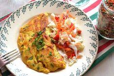 Omelette sans oeufs Ingrédients      120g de tofu soyeux     50g de farine de pois chiches     1 CS d'arrow root (ou de fécule)     Une pincée de curcuma en poudre     1 CC de légumes séchés     1/2 CC d'ail séché en poudre     Une pincée de sel     100ml d'eau