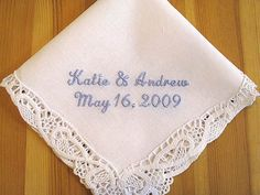 Wedding Handkerchief with Bride and Groom's Names by linenwhites, $17.95