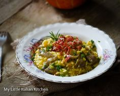 Pumpkin, mushrooms risotto with crunchy bacon