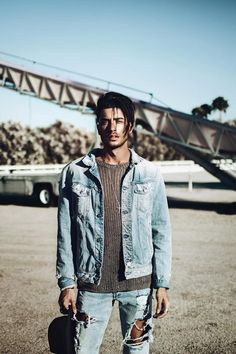 Toni Mahfud wearing Replay Light Distressed Denim Jacket, H