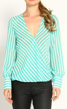 Mint & White Stripe Wrap Top