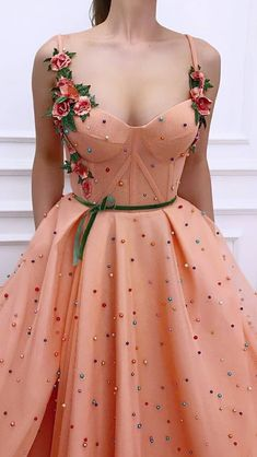 Spaghetti Straps Appliques Tulle Pearls A-line Long Prom Dress with Pretty Prom Dresses, Grad Dresses, Ball Dresses, Cute Dresses, Beautiful Dresses, Ball Gowns, Evening Dresses, Formal Dresses, Prom Outfits