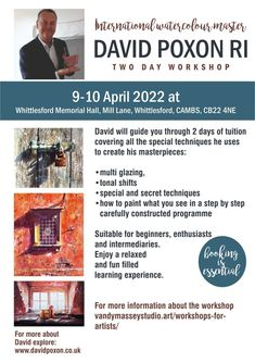 Two-day workshop – unlock the knowledge and skills to paint richly textured watercolours. Learn to use the same techniques applied by David in his own paintings. 9th & 10th April 2022