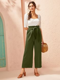 Womens Ladies Rainbow Stripes Culotte Trousers Paper Bag Wide Leg Night Out