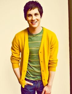 Logan Lerman. @Bailey Ward And that feeling that you have right now, is the feeling of your heart melting because of the Mustard cardigan! :)
