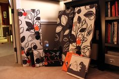 Fabric art panels..........could use as a head board  for bed too!