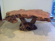 SPOTTED GUM Hardwood timber burl slab coffee table & mallee stump base - NEW | eBay