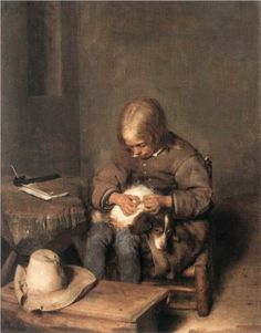 The Flea-Catcher (Boy with his Dog) - Gerard Terborch