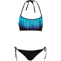 TOPSHOP Black Dip Dye Fringe Bikini ($64) ❤ liked on Polyvore featuring swimwear, bikinis, bathing suits, swimsuits, swim, black, fringe swimsuit bikini, fringe swimsuit, bandeau swim tops and swim bikini