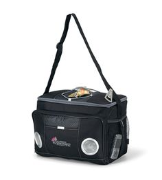 Product: Encore Music Cooler From picnics to the beach, you'll be the hit of the party! Top bungee cord for additional storage - Convenient metal bottle opener attached to cooler -  Front zippered pocket with built-in speakers and jack to allow for compatibility with MP3 player - 3 AA batteries included - Front pocket and side mesh pockets for accessories - Adjustable shoulder strap Heat sealed interior - Non-PVC - 24 can capacity
