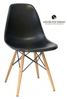 Cadeira DKR Eiffel Charles Eames Preta Madeira Móveis Tok' Design