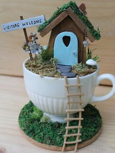 Desktop tea cup garden/fairy garden/miniature garden/desktop decor/office g Indoor Fairy Gardens, Mini Fairy Garden, Fairy Garden Houses, Miniature Fairy Gardens, Fairies Garden, Garden Pond, Teacup Crafts, Desktop Decor, Fairy Furniture