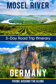 Explore the Mosel River in Germany, the most accessible wine region of Middle Europe. Enjoy the winding roads between Trier and Koblenz and take in the views, the river, the food, Medieval Castles and Unesco World Heritage. #Germany #roadtrip #Germanroadtrip #BurgEltz #trier #koblenz Road Trip Europe, Europe Travel Guide, Europe Destinations, Traveling Europe, Travel Abroad, Travel Guides, Road Trip Hacks, Road Trips, European Travel Tips