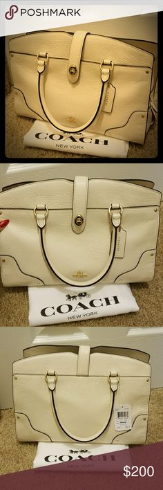 Coach bag authentic NWT Retail $395  NeW This is new with tag purse with dust bag I love them soooo much but I have so many purse That I didn't get a chance to wear it. Very classy look it look white cream( color compare with white dust bag on picture)  Please view all pictures if you have any more question just hit me up. Thank you.!  All my items. Are 100% authentic Coach Bags Satchels