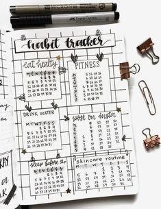Habit tracker in bulletin journal #bulletjournal #tracker #bujo