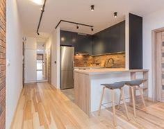 Mała otwarta kuchnia w kształcie litery u w aneksie z wyspą, styl industrialny - zdjęcie od Kameleon - Kreatywne Studio Projektowania Wnętrz