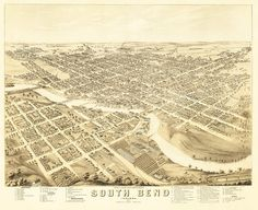 Vintage Map South Bend Indiana 1874 by Imagerich on Etsy, $30.00