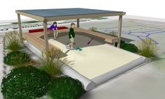 Deck seating and shade canopy. 3d Landscape, Landscape Designs, Deck Seating, Outside Activities, Shade Canopy, Sand Pit, Outdoor Furniture, Outdoor Decor, Sun Lounger