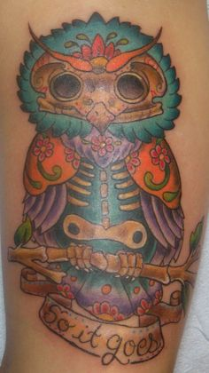 Day of the Dead Owl Tattoo by Lisa Murphy www.againstthegraintattoo.com
