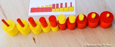 Using comparison cards with Yellow and Red Knobless Cylinders (Montessori Sensorial Activity)