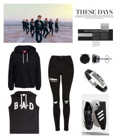 """""""monsta x hero mv outfit"""" by koreanclothes ❤ liked on Polyvore featuring Topshop, Zoe Karssen, adidas and BERRICLE"""