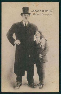 Circus freak Armand BRONNER French giant tall man original old 1910s postcard