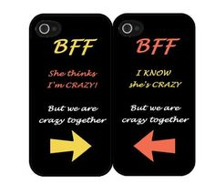 """BFF Quote """"She's Crazy"""" Arrow Best Friends Set i5 iPhone 5 Hard Case by Great Accessories, http://www.amazon.com/dp/B00EATDPHW/ref=cm_sw_r_pi_dp_weD3sb01RQ54E/182-9570464-1475955"""