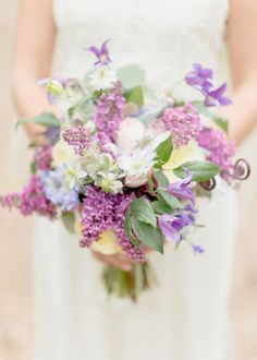 Lovely lavenders and purples -- some help id'ing the flowers would be appreciated! See the garden-styled wedding on Style Me Pretty: http://www.StyleMePretty.com/2014/03/11/romantic-garden-wedding-at-caramoor/ Photography: Elisabeth Millay | Floral Design by Violet and Verde