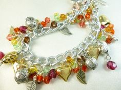 Gold Silver Heart Charms Swarovski Crystal Silver Chain Bracelet | dianesdangles - Jewelry on ArtFire