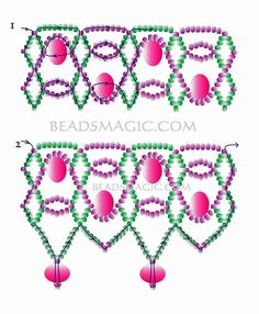 Free pattern for beaded necklace Colombina U need: seed beads 11/0 rondelle beads 6-8 mm
